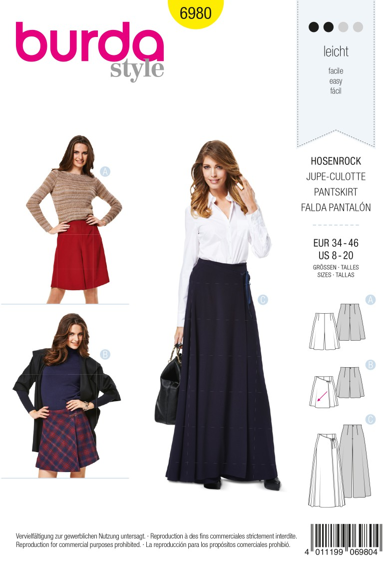 Burda B6980 Burda Style Trouserskirts Sewing Pattern