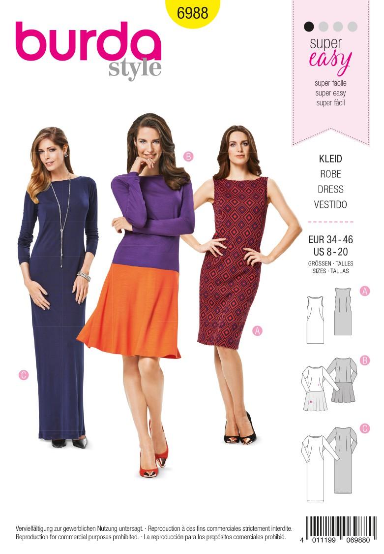 Simplicity B6988 Burda Style Dress Sewing Pattern