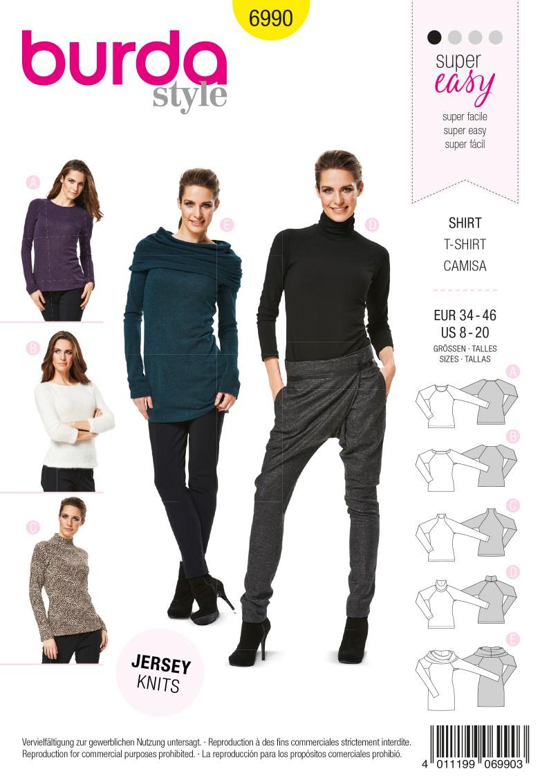 Burda B6990 Burda Style T-Shirt Sewing Pattern