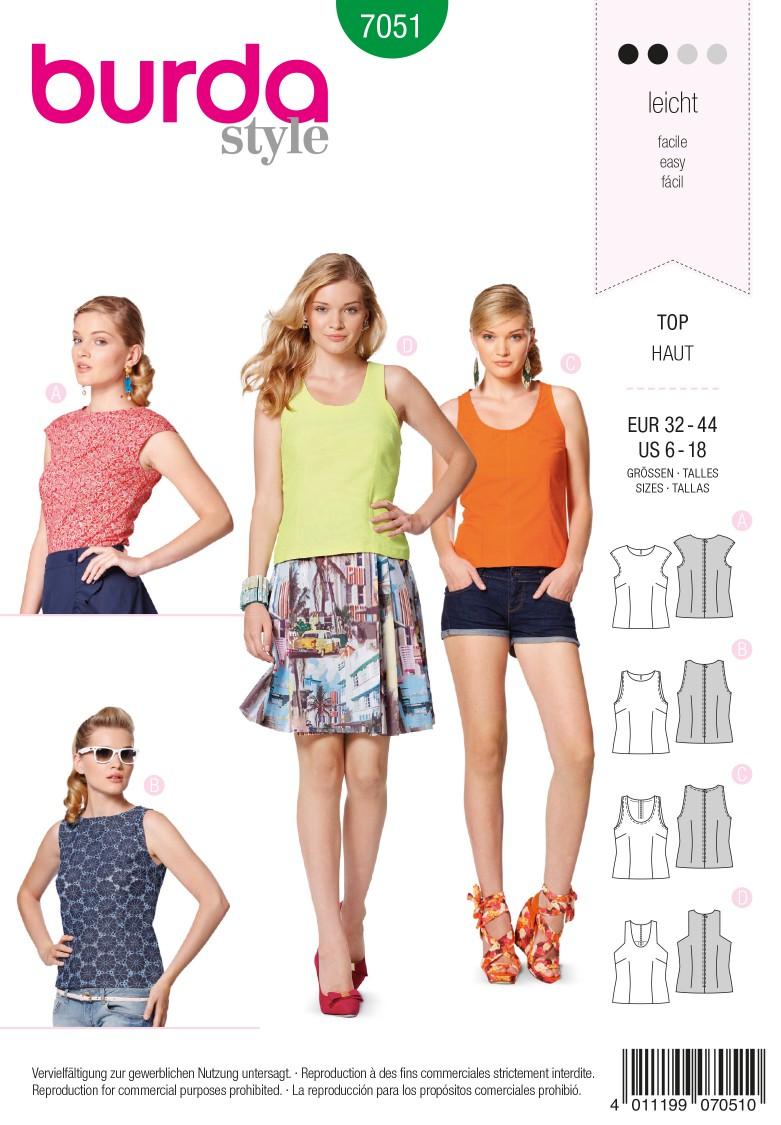 Burda B7051 Burda Style Top Sewing Pattern