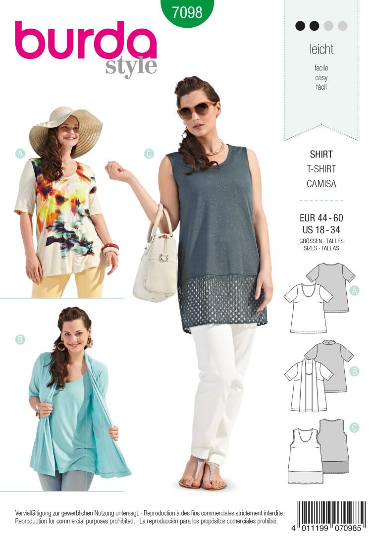 Burda Style B7098  T-Shirt Sewing Pattern