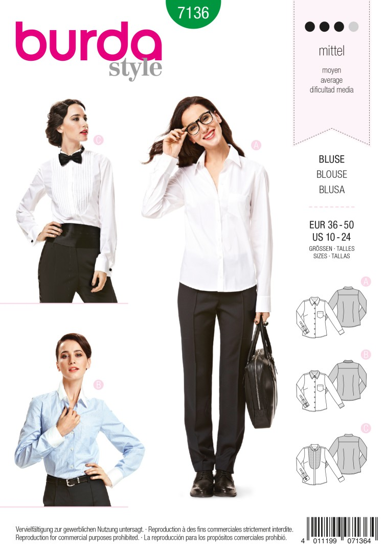 Burda B7136 Blouse Sewing Pattern