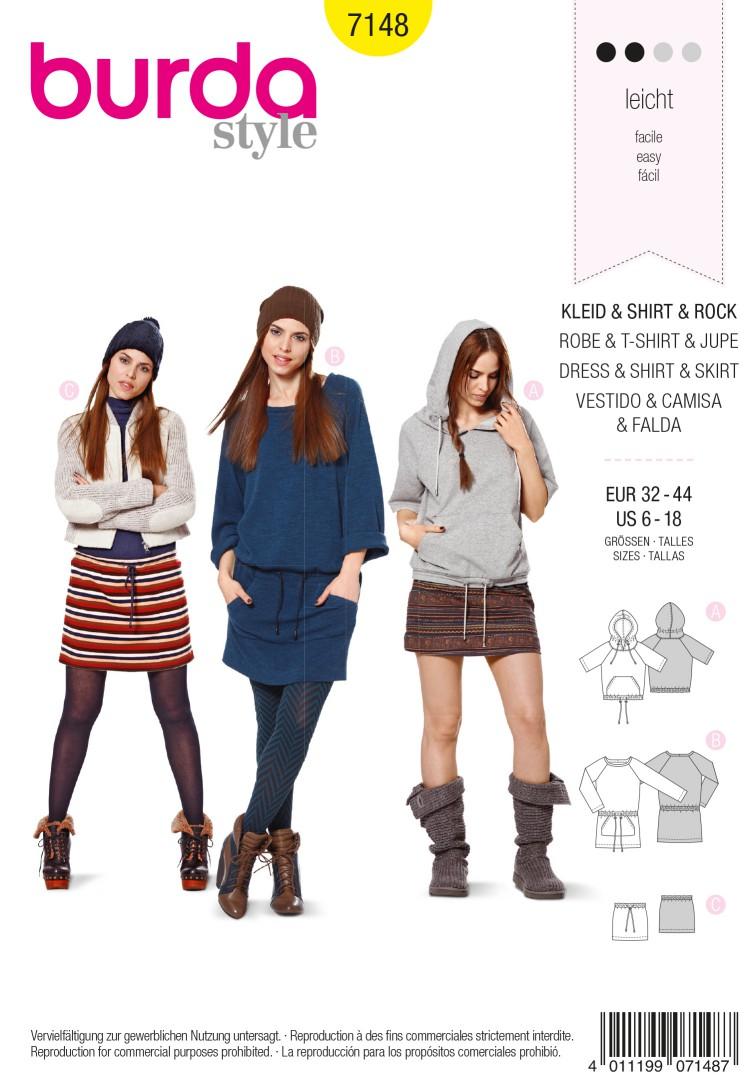 Burda B7148 Dress, Shirt & Skirt Sewing Pattern