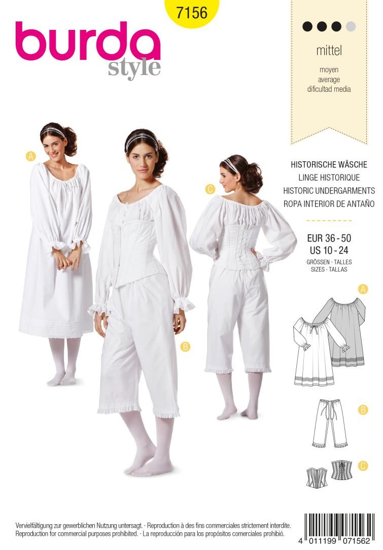 Burda B7156 Burda Style Historic Undergarments