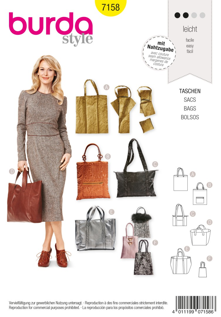 Burda B7158 Shopping Bag Sewing Pattern