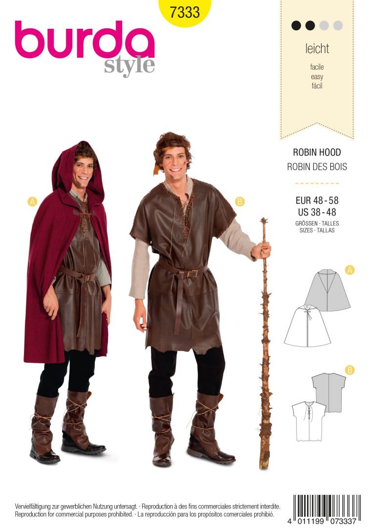 Burda Style B7333 Men's Robin Hood Costume Sewing Pattern