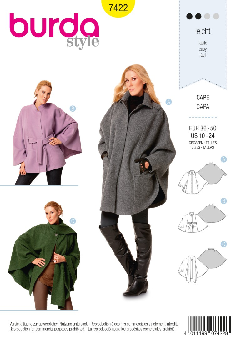 Burda Style B7422 Cape Sewing Pattern