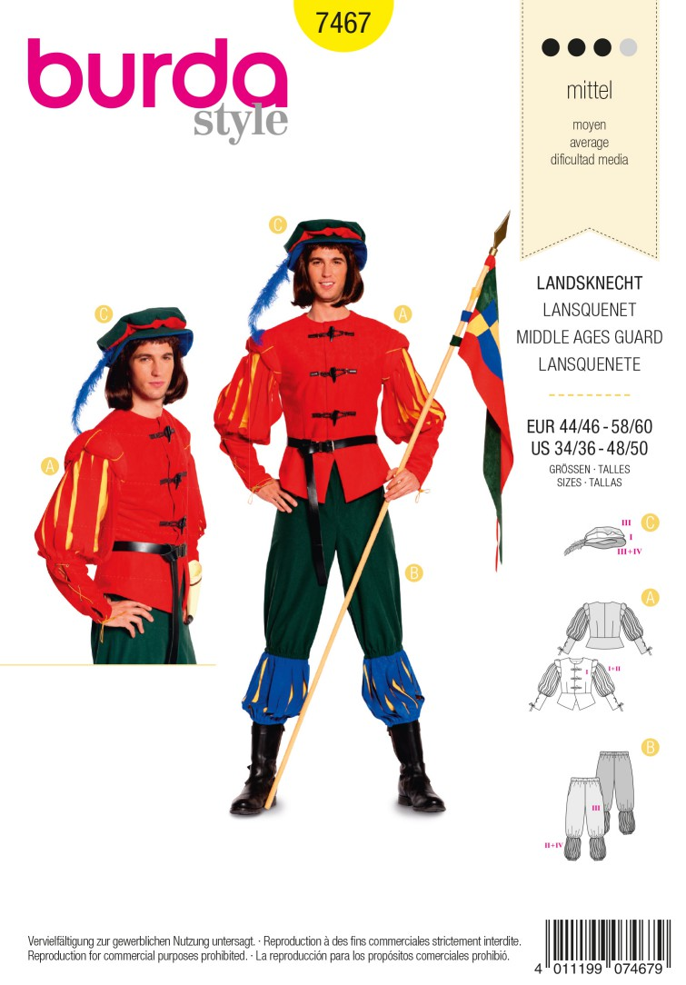 Burda Style B7467 Middle Age Guard Costume Sewing Pattern