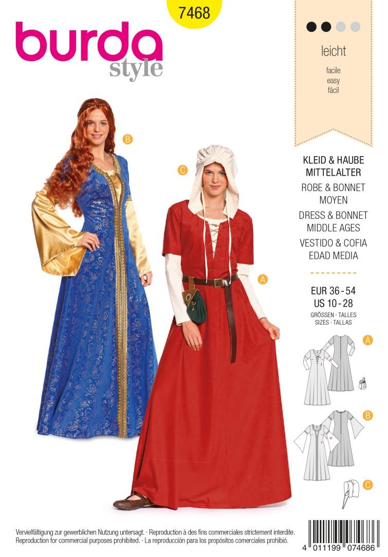 Burda Style B7468 Dress & Bonnet Middle Ages Sewing Pattern