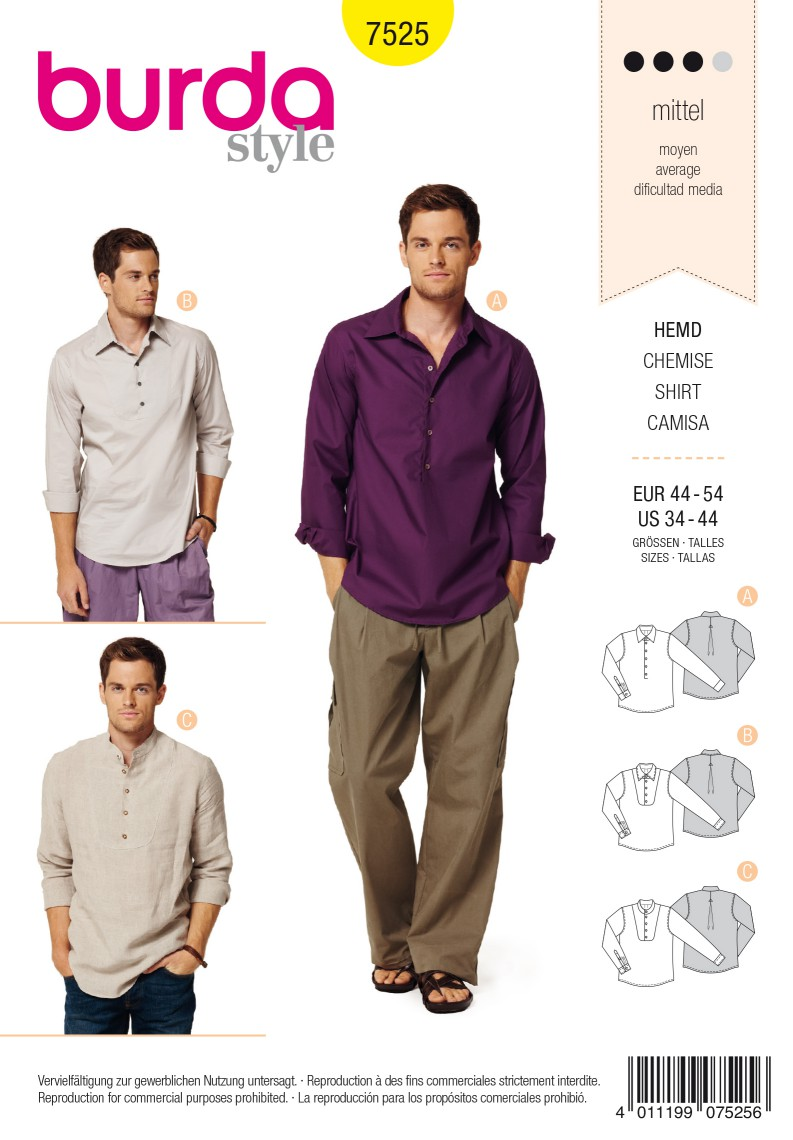 Burda Style B7525 Shirt Sewing Pattern