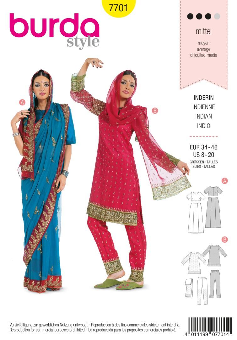 Burda B7701 Traditional Sari Sewing Pattern