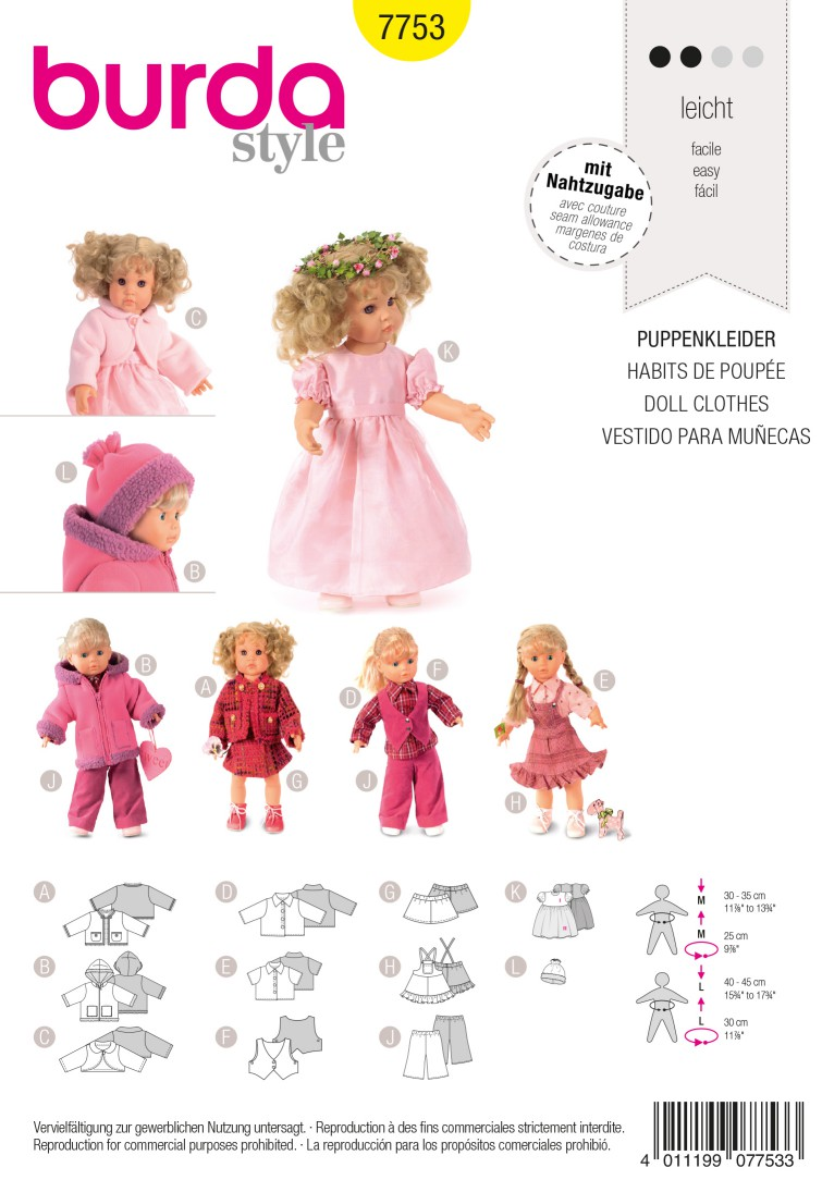 Burda B7753 Doll Clothes Sewing Pattern