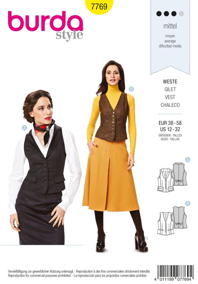 Burda B7769 Vest Sewing Pattern
