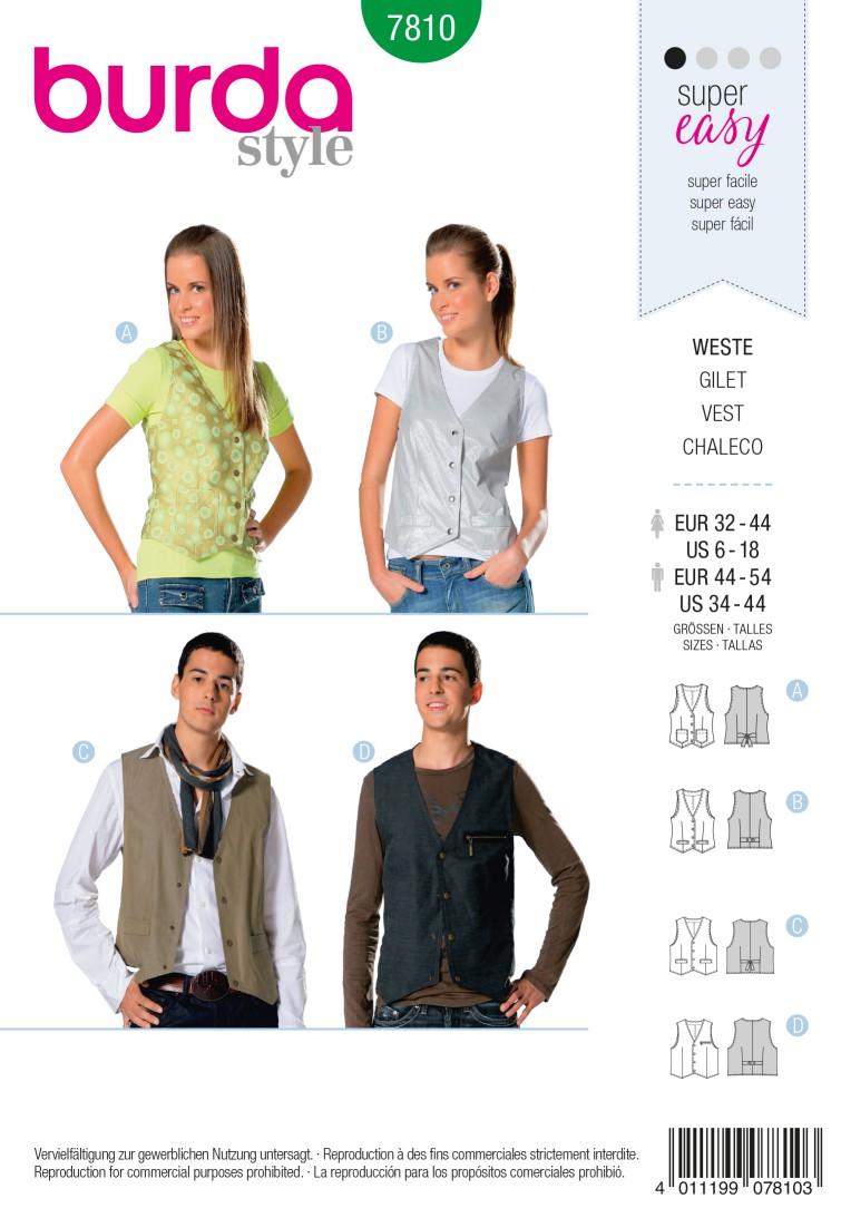 Burda B7810 Vest Sewing Pattern