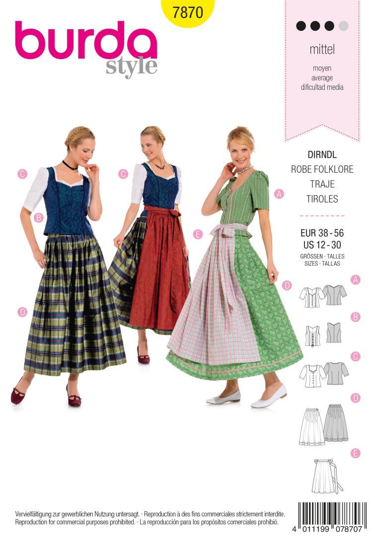 Burda B7870 Dirndl Dress Sewing Pattern
