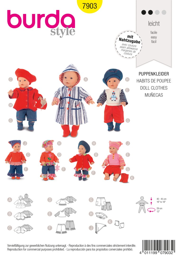 Burda B7903 Doll Clothes Sewing Pattern