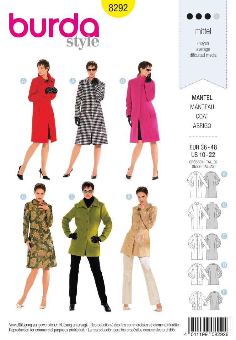 Burda B8292 Coat Sewing Pattern