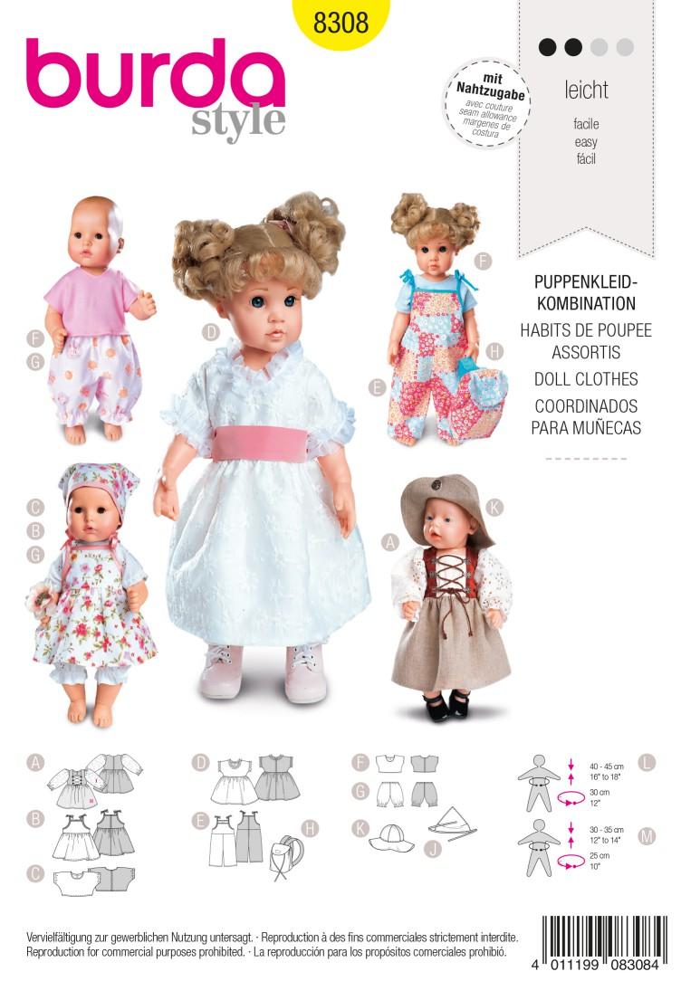Burda B8308 Doll Clothes Sewing Pattern