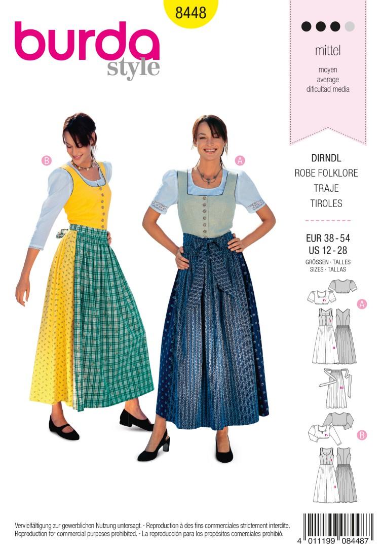 Burda B8448 Dirndl Dress Sewing Pattern