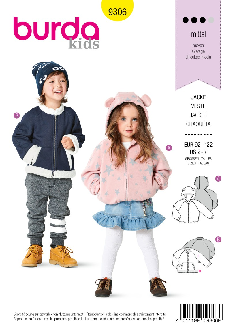 Burda Style Pattern 9306 Children's Jackets, Blouson Style, Front Zipper, Hoodie or Round Neck