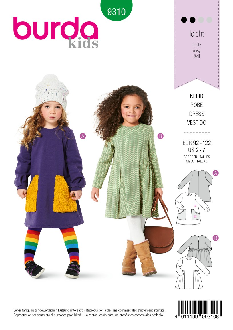 Burda Style Pattern 9310 Children's Dress, Pull-On with Partially Pleated Skirt or Feature Pockets