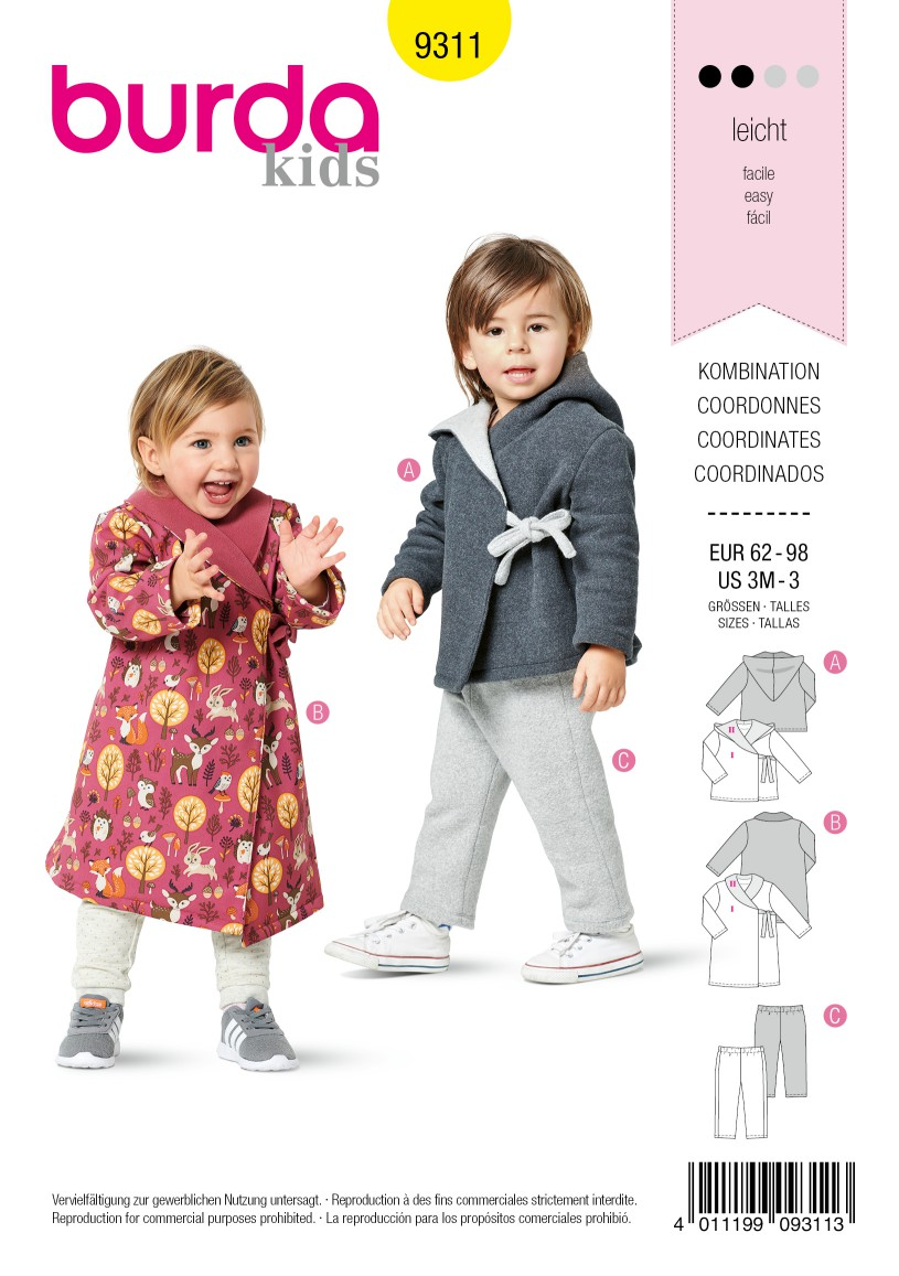 Burda Style Pattern 9311 Toddlers' Coordinates, Coat or Jacket with Side Tie, Pull-On Pants