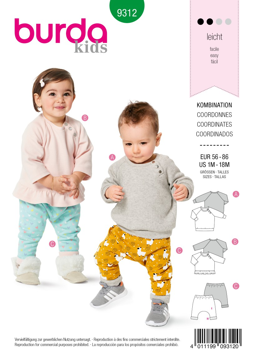 Burda Style Pattern 9312 Babies' Coordinates, Pull-On Top and Pants
