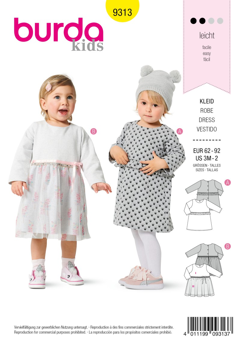 Burda Style Pattern 9313 Toddlers' Dresses, Pull-On with Trim Variations