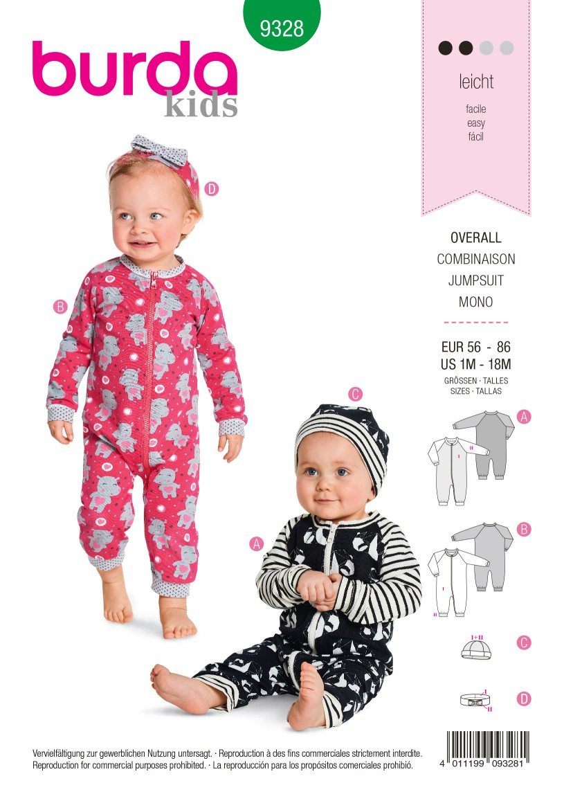 Burda Style Pattern B9328 Baby's Romper