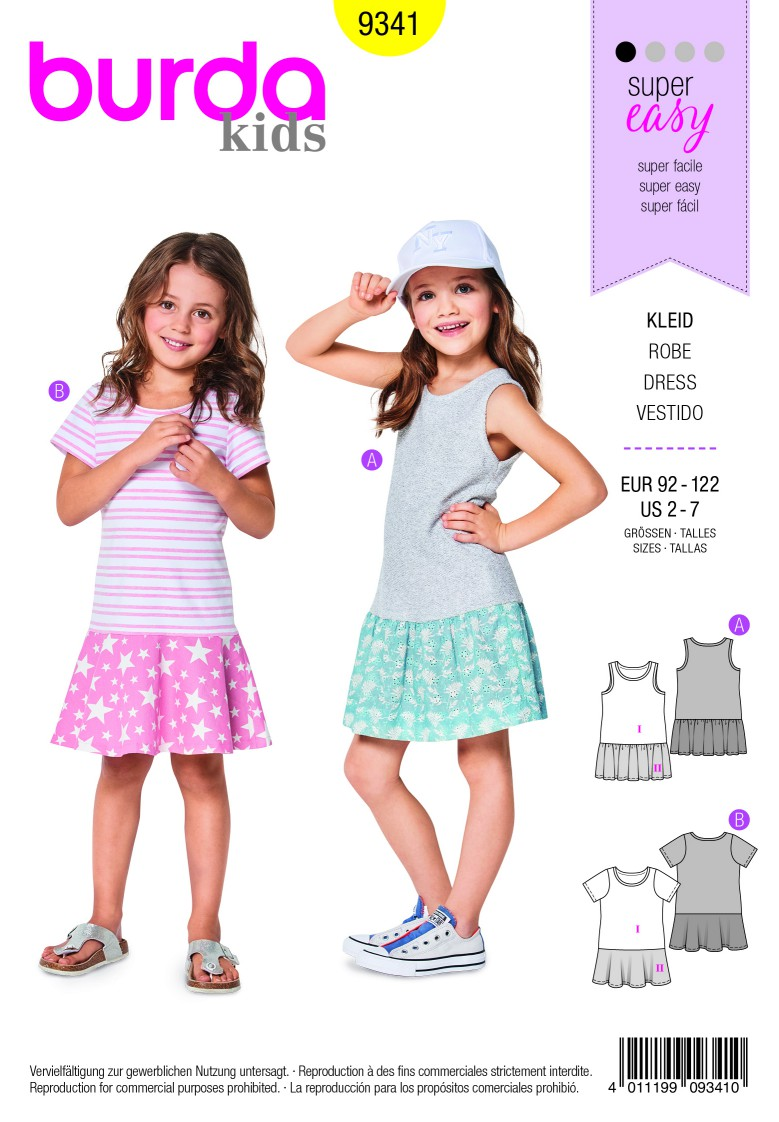 Burda Style Pattern B9341 Child's Summer Jersey Dresses