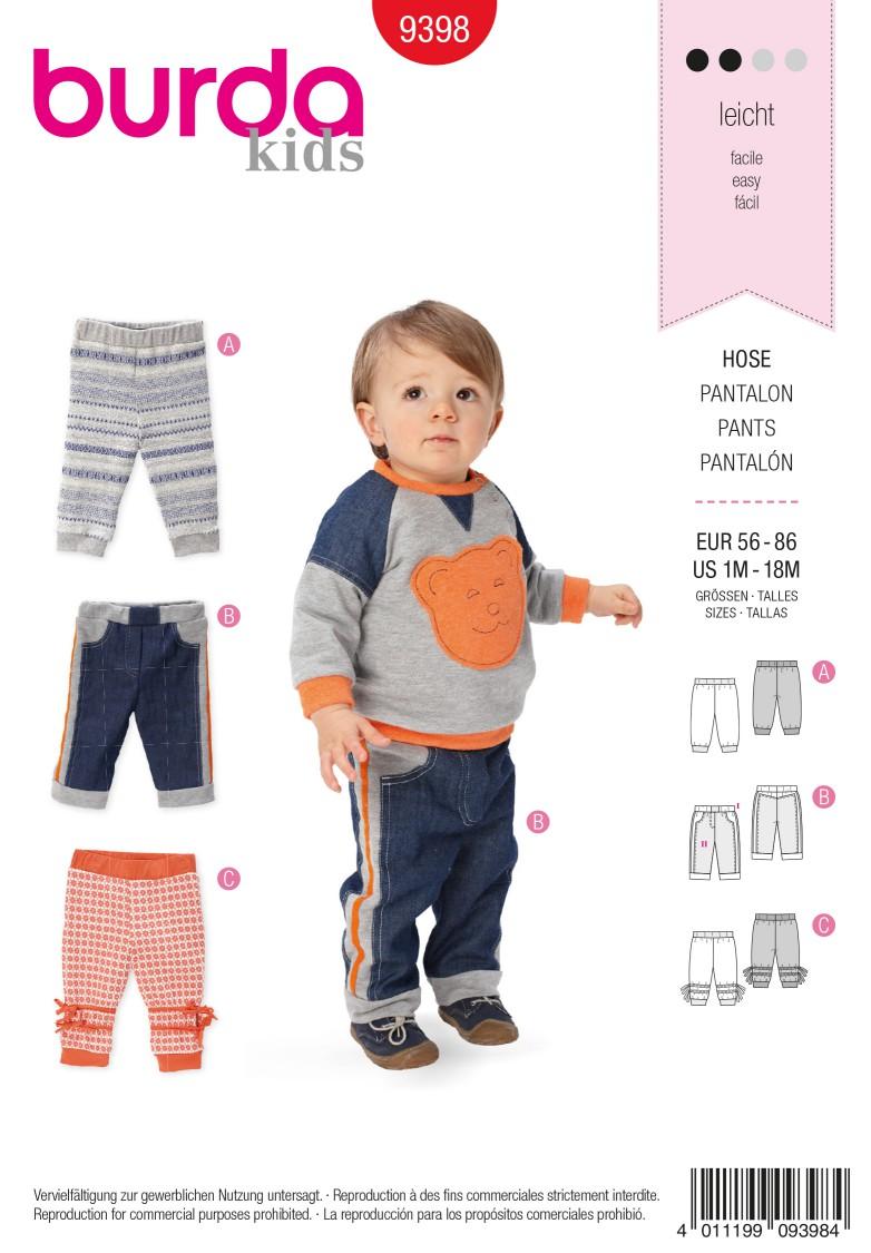Burda B9398 Baby Trousers Sewing Pattern