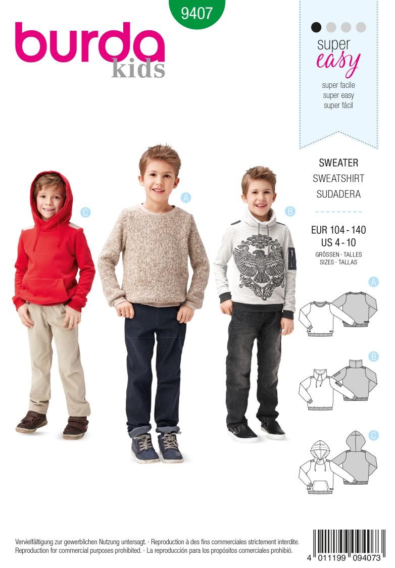 Burda B9407 Children's Sweater Sewing Pattern