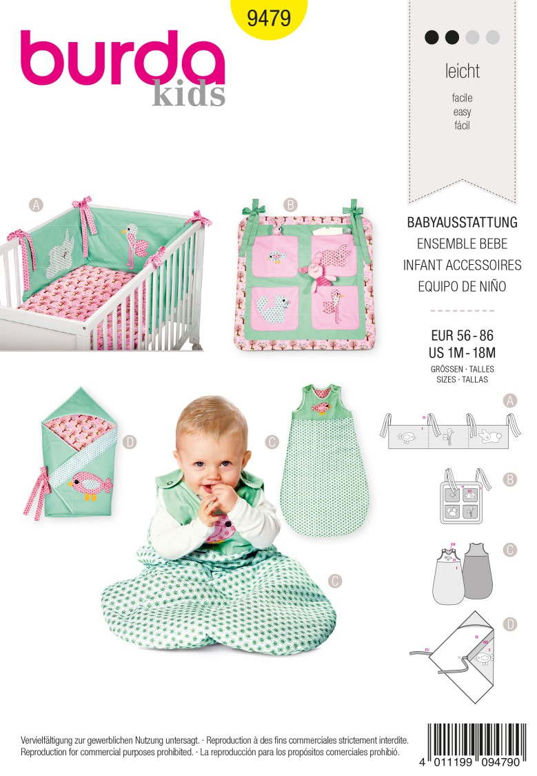 Burda Kids B9479 Infant Accessories  Sewing Pattern