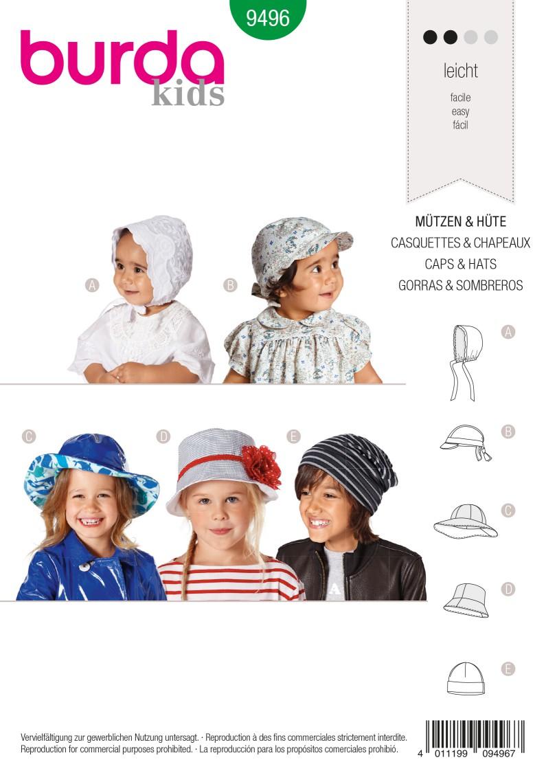 Burda B9496 Style Caps & Hats Sewing Pattern