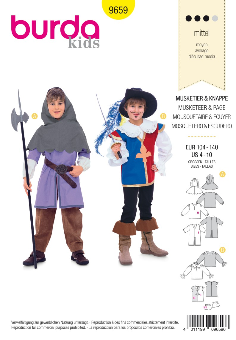 Burda B9659 Musketeer & Page Costume Sewing Pattern