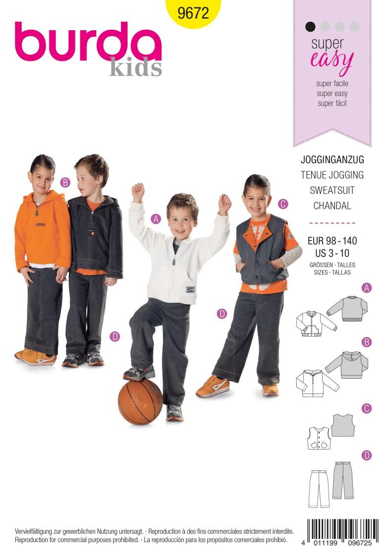 Burda Kids B9672 Jogging Suit for Boys and Girls