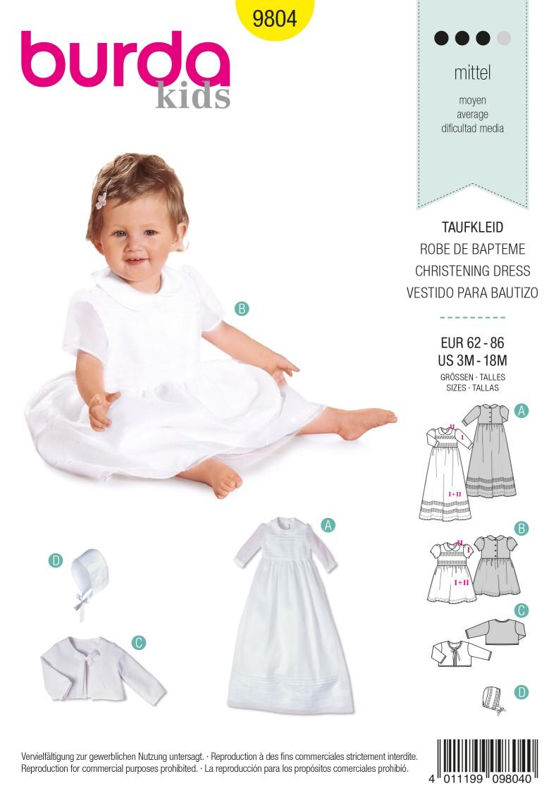 Burda B9804 Christening Dress Sewing Pattern