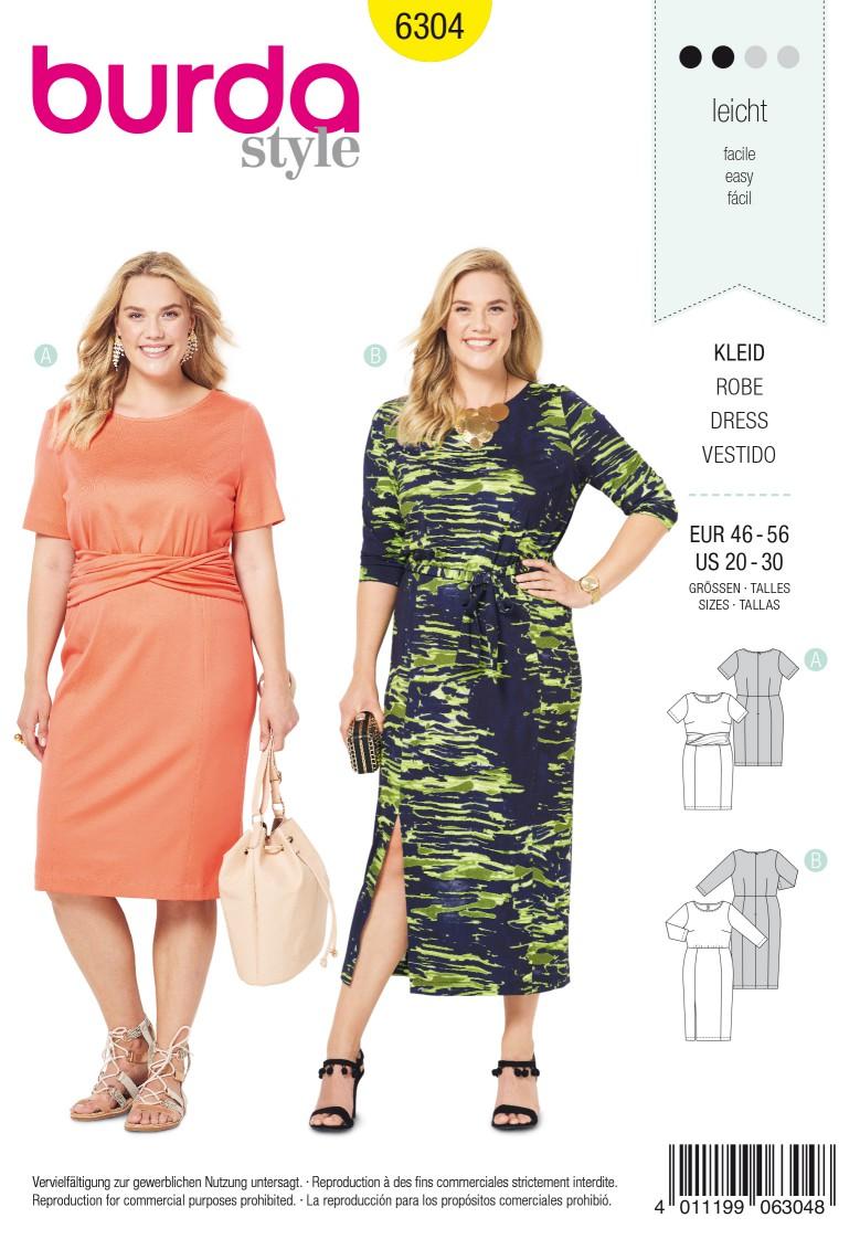 Burda Style Pattern 6304 Women's jersey dress