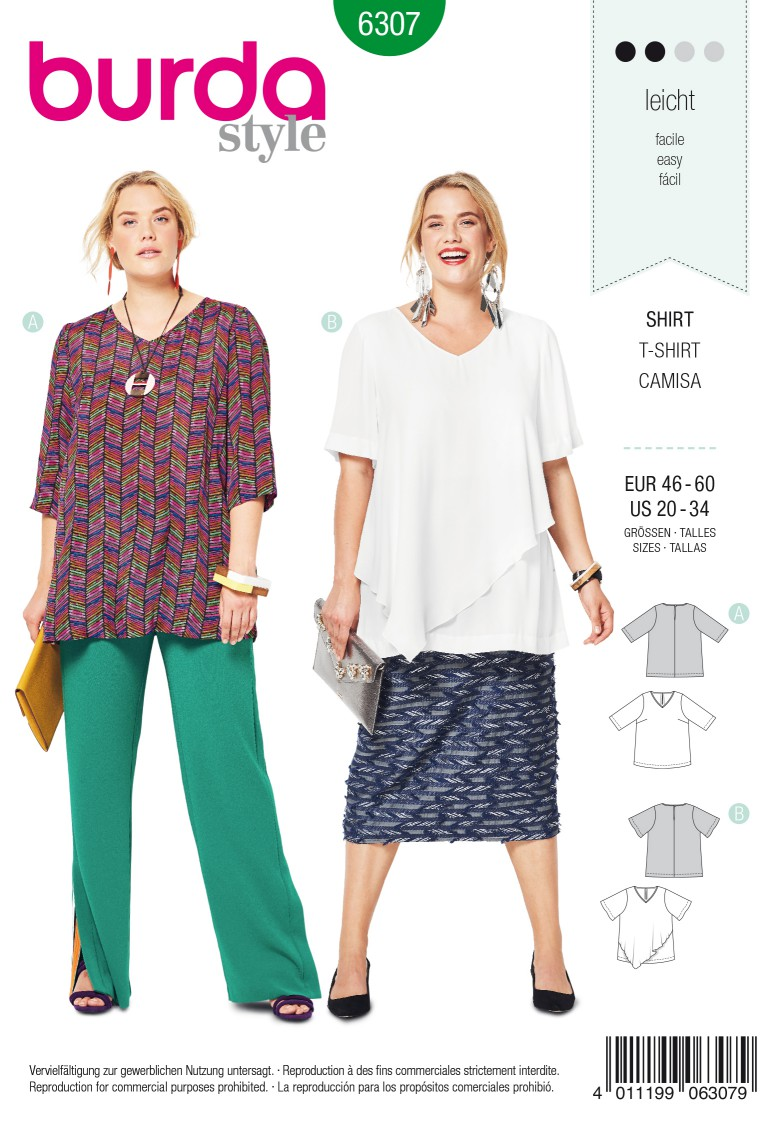 Burda Style Pattern 6307 Women's asymmetric top