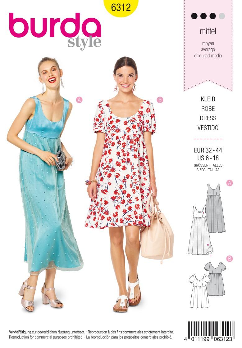 Burda Style Pattern 6312 Misses' ballet neckline dress