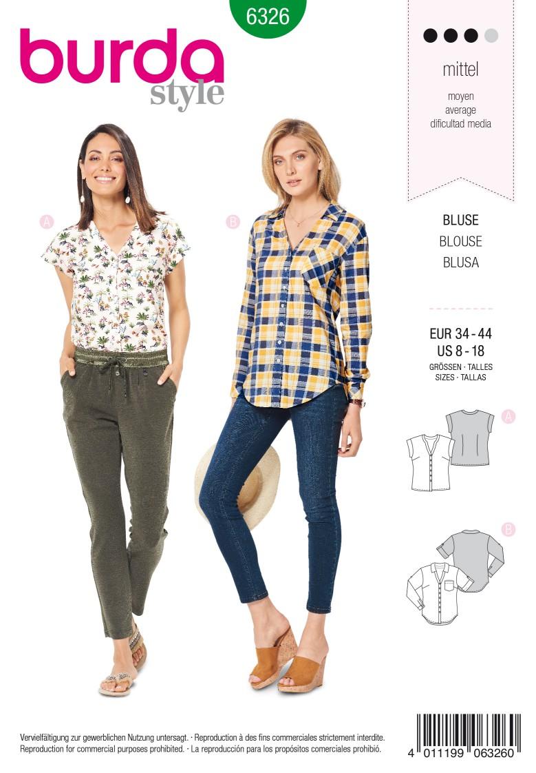 Burda Style Pattern 6326 Misses' shirt with v neck