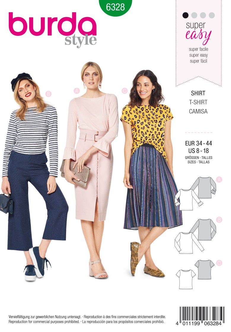 Burda Style Pattern 6328 Misses' top with boat neckline