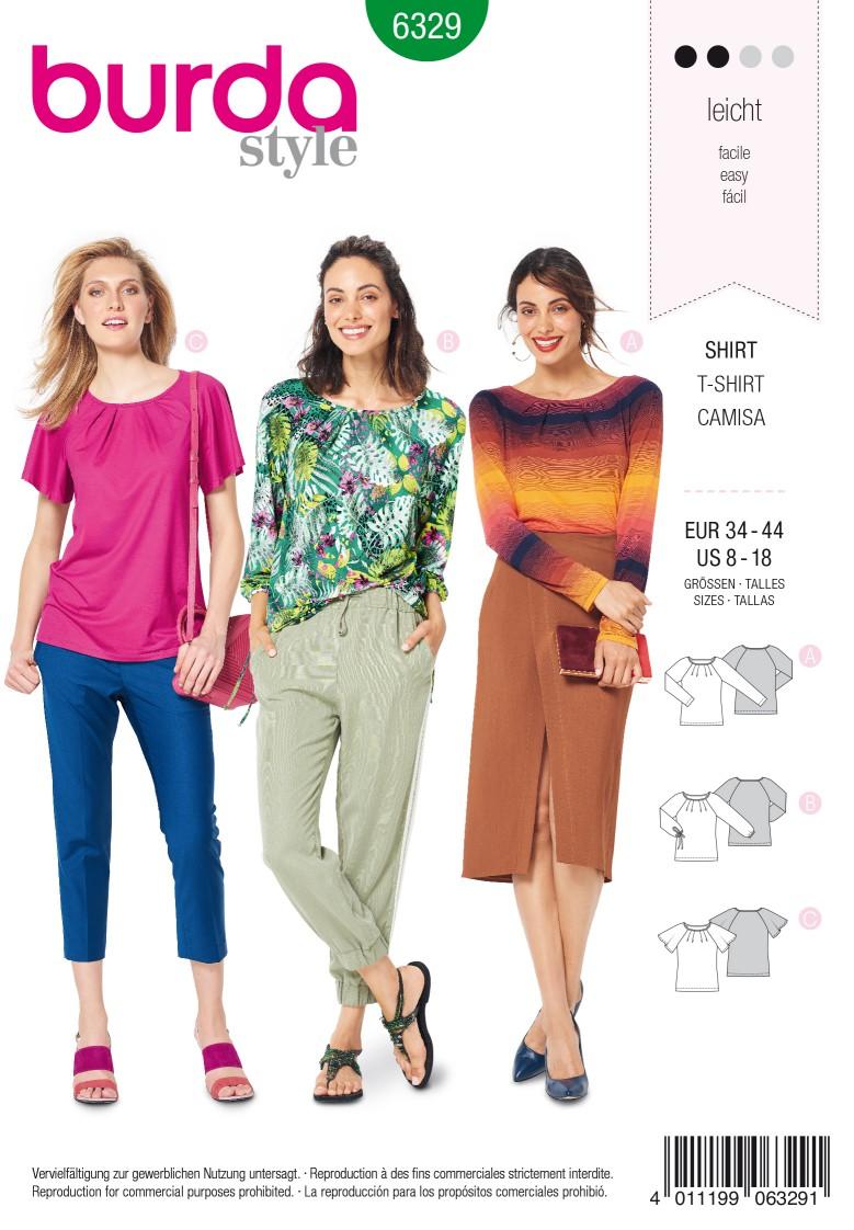 Burda Style Pattern 6329 Misses' raglan top