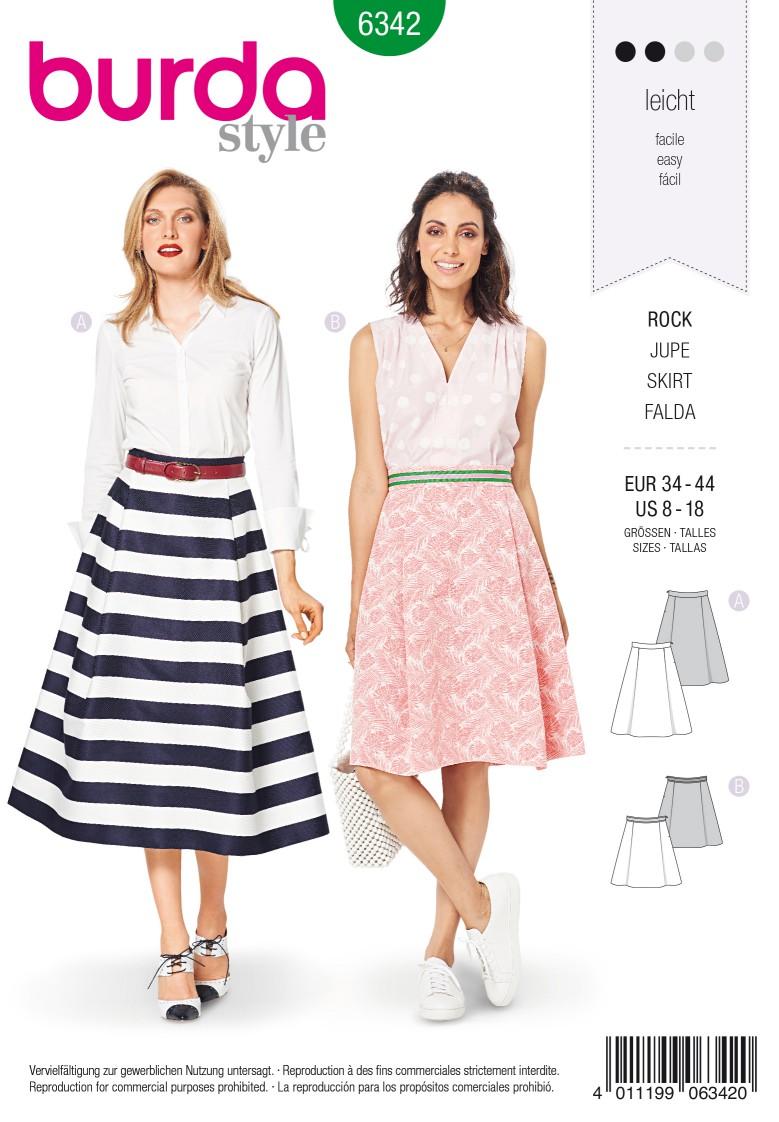 Burda Style Pattern 6342 Misses' side pleat skirt