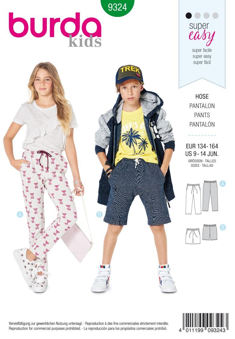 Burda Style Pattern 9324 Child's elastic waist pants