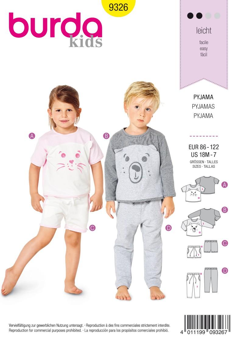 Burda Style Pattern 9326 Toddler's sleepwear