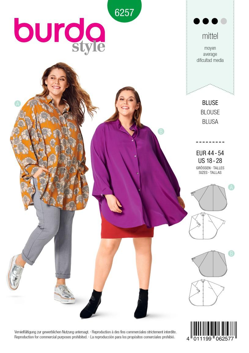 Burda Style Pattern 6257 Women's Blouses, Cape Effect