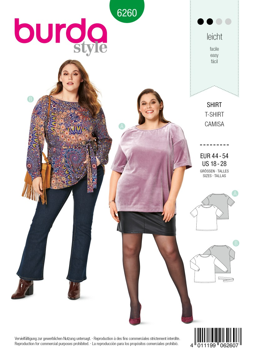 Burda Style Pattern 6260 Women's Tunic or Top, Designed for Stretch Knits