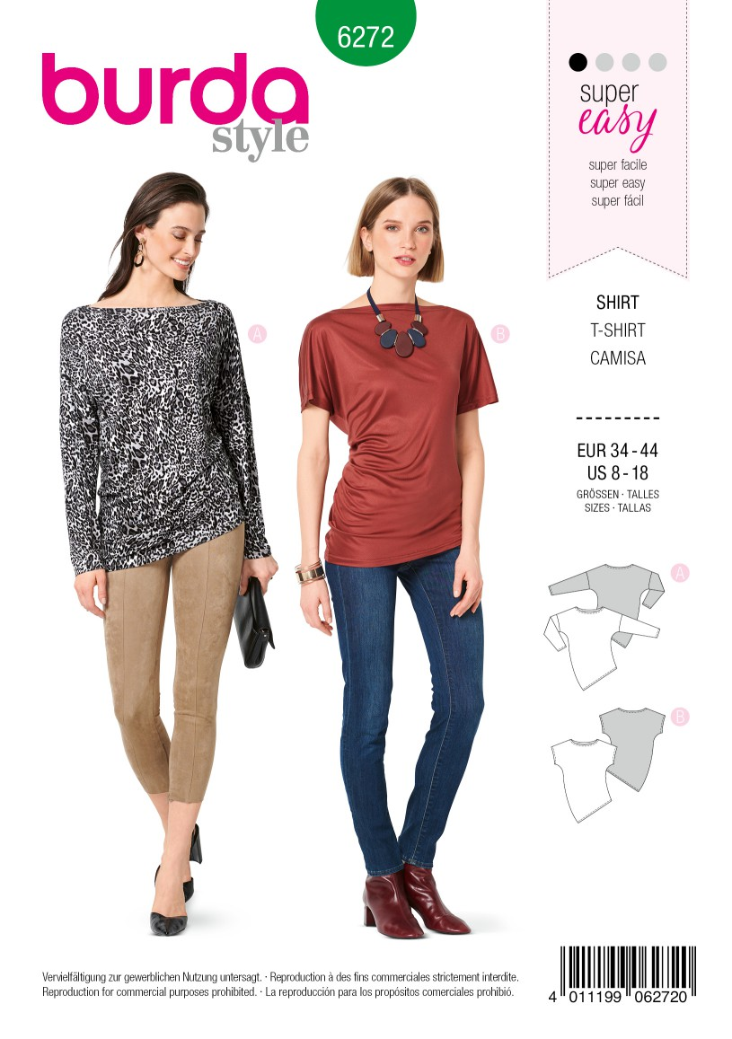 Burda Style Pattern 6272 Misses' Knit Tops with Asymmetric Hemline
