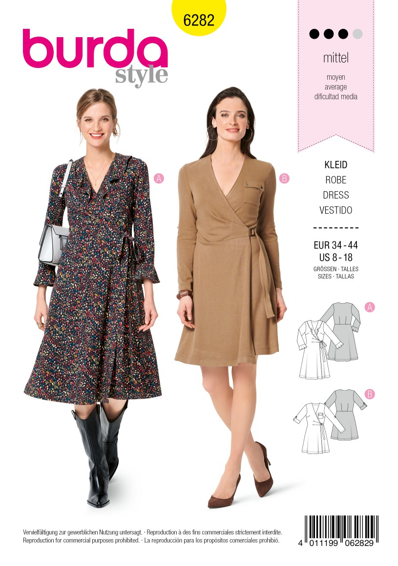 Burda Style Pattern 6282 Misses' Wrap Dresses with Length and Sleeve Options